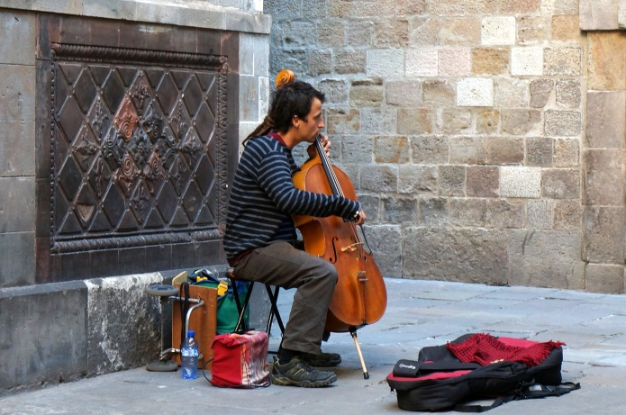 Musician in the Gothic Quarter of Barcelona