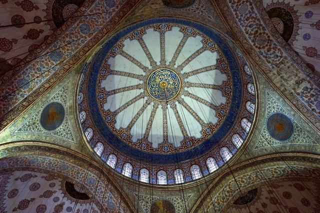 blue ceiling tiles in Blue Mosque