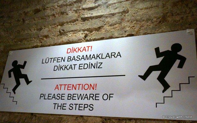 Warning sign at Basilica Cistern, Istanbul