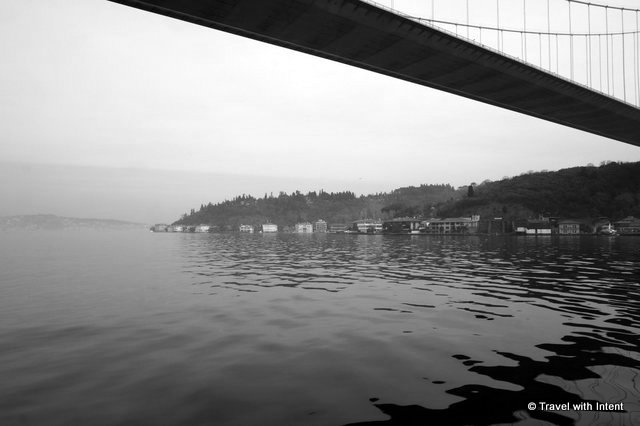 bridge and reflections on Bosphorus
