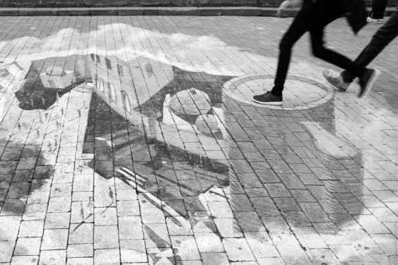 Floor art in Baku, Azerbaijan, March 2017