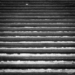 Snowy steps in Stockholm