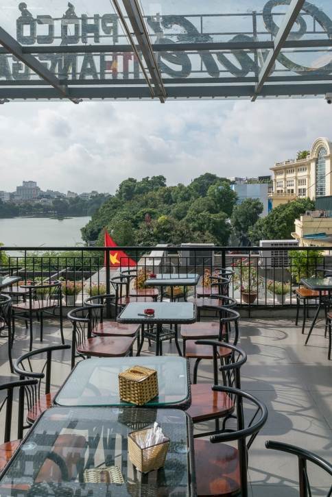 Cafe with a view in Hanoi, Vietnam