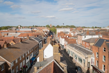 View from Clock Tower to St Peter's Church