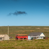 Red bus has reached northern Shetland