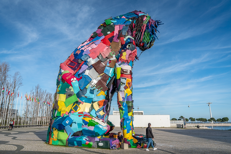 Giant Iberian lynx statue in a patchwork of colours