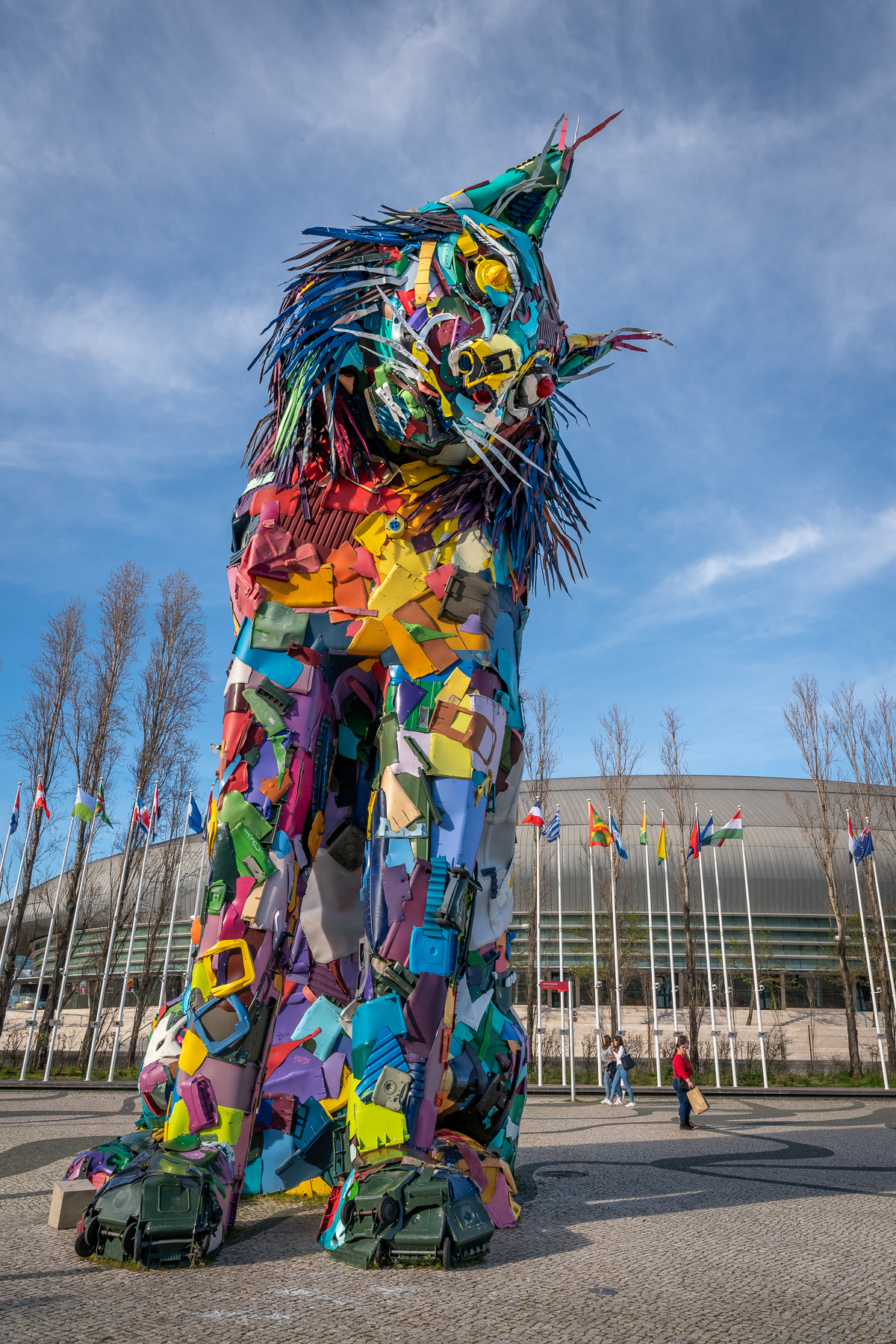 Giant Iberian lynx statue in a patchwork of colours, repurposing old plastic items