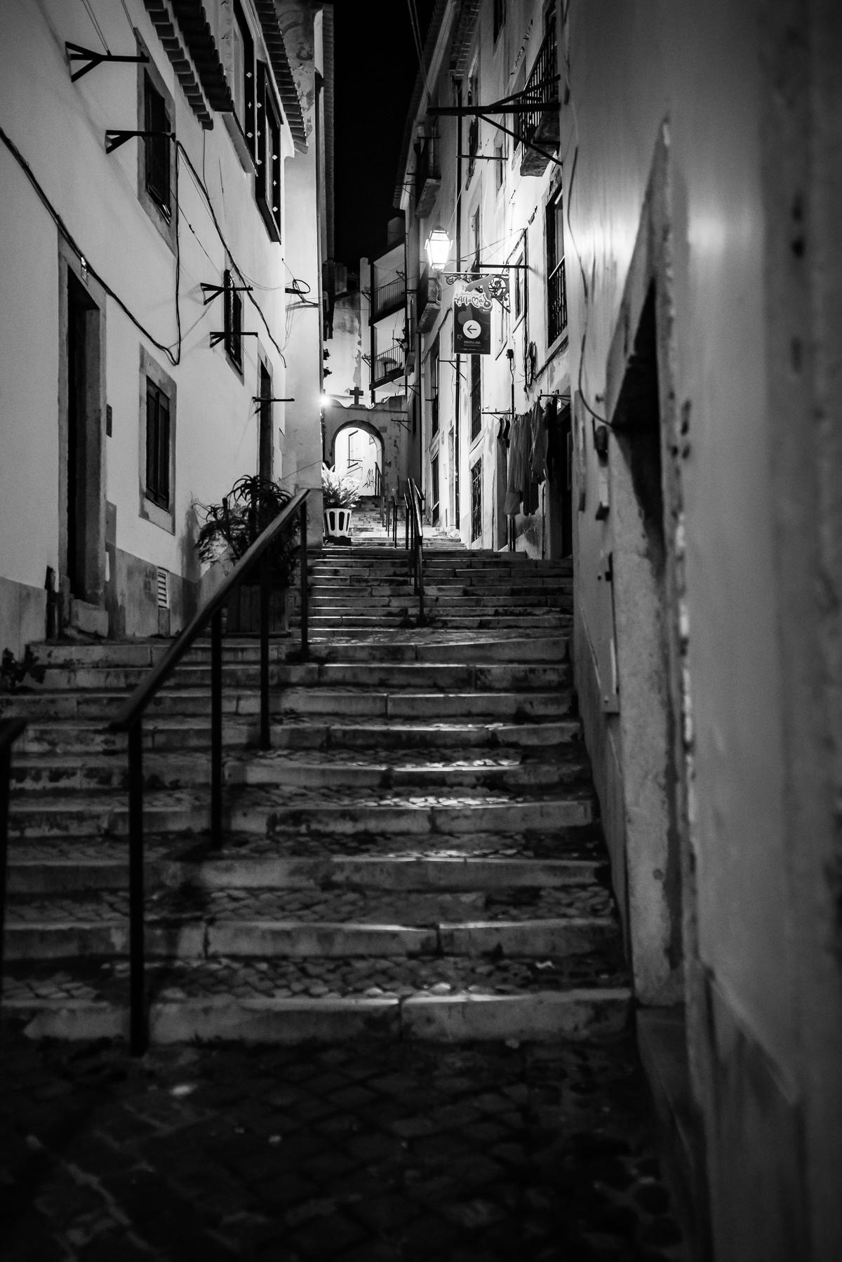Lisbon Alfama at night. Black and white