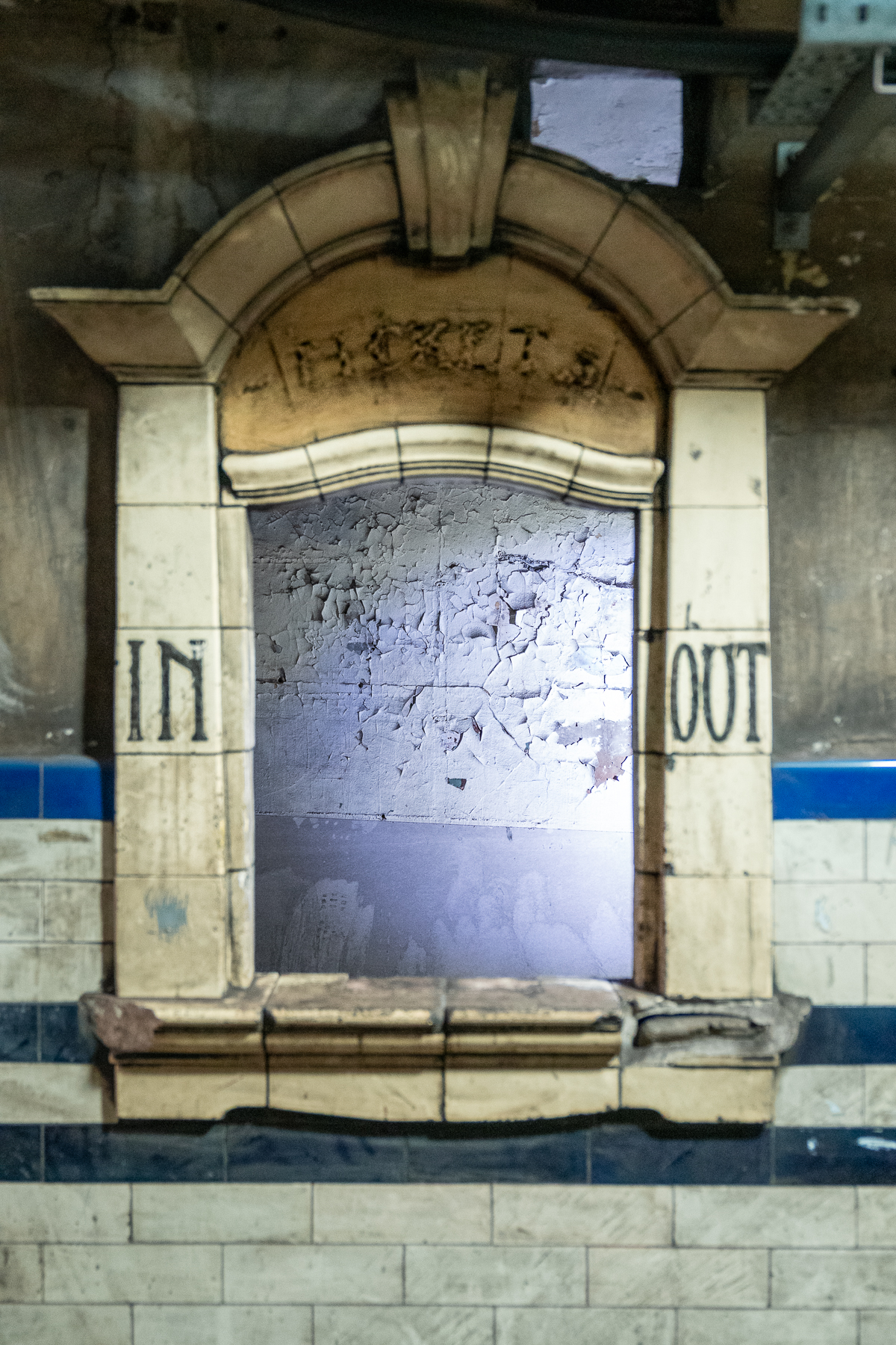 old and closed ticket window, Euston, London