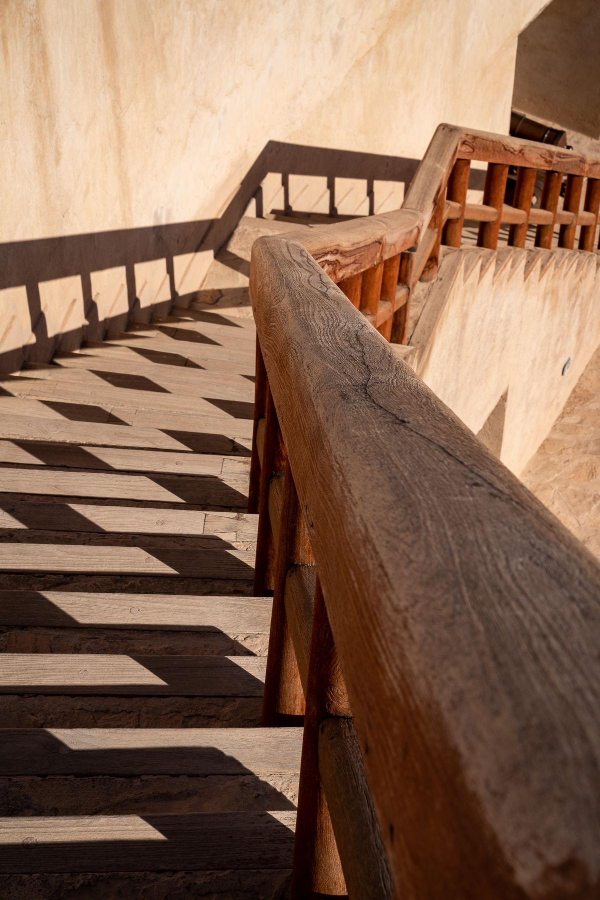 Shadows on the stairs in Nizwa Fort, Oman