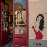 Open doors at a Paris bar