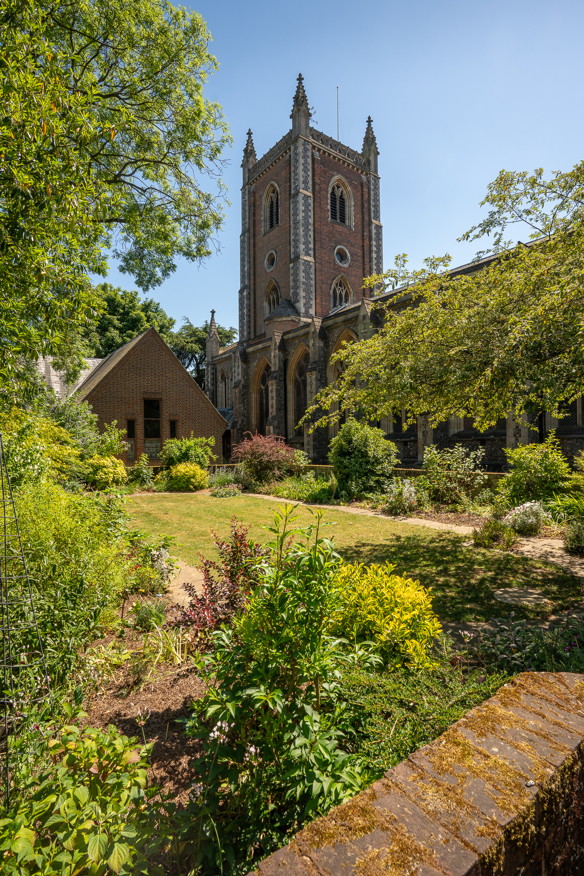 view across garden to St Peter's Church, St Albans