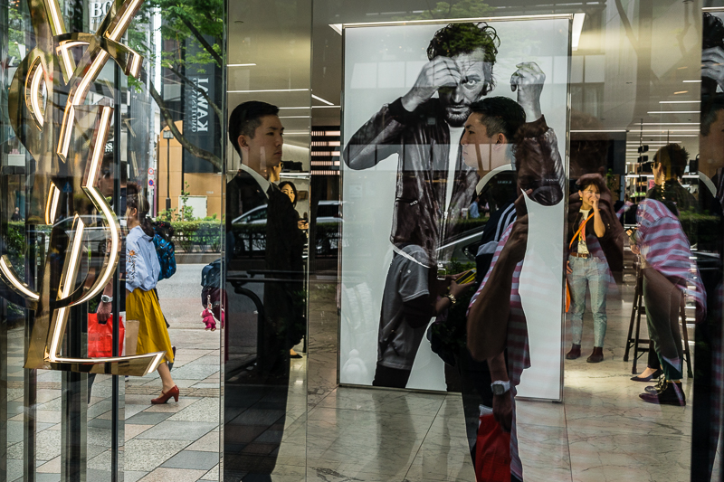 Reflections in YSL shop window, Tokyo