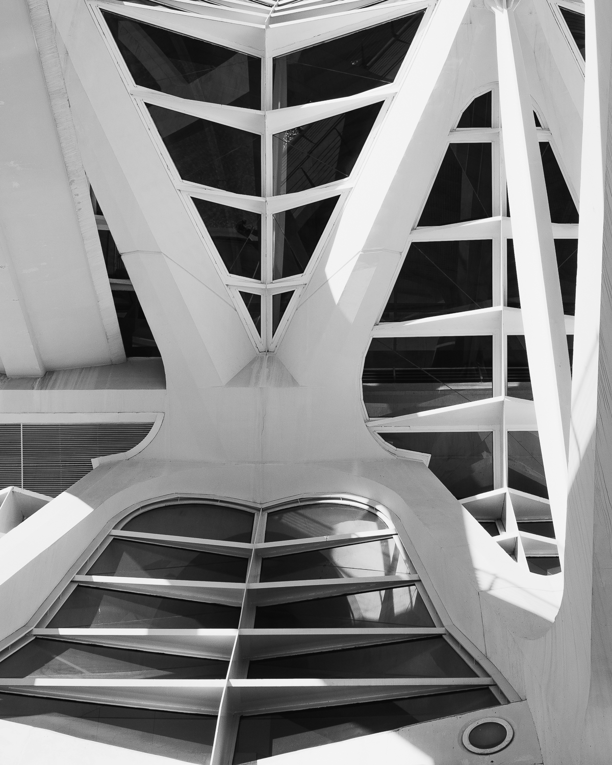 Looking up at roof of City of Arts and Sciences in Valencia