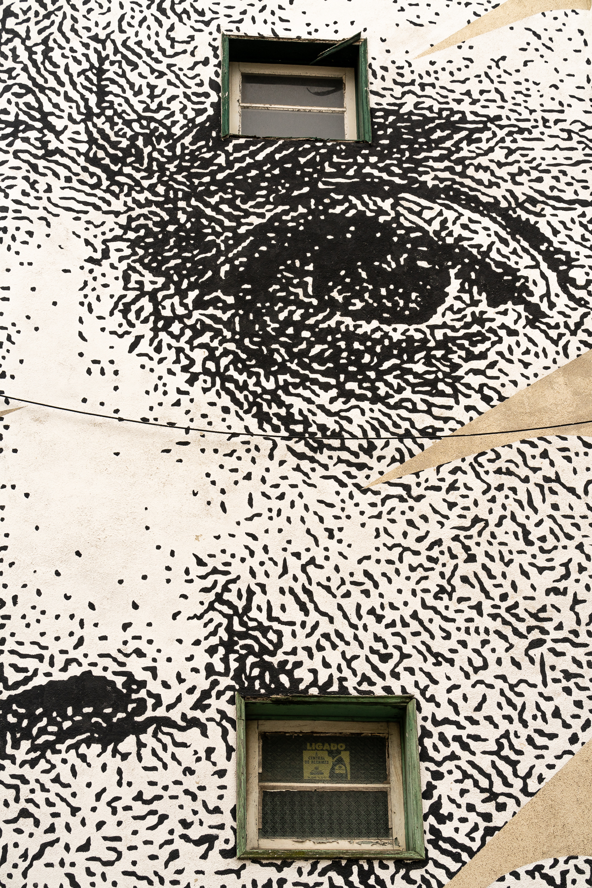 close up of the stencilled black and white mural of the face of Sophia