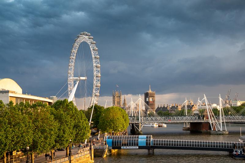Dark clouds around London Eye