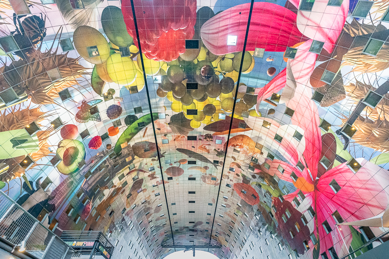 Digital mural on roof of Rotterdam Markthal