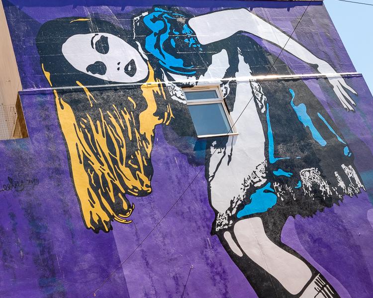 Close up of Alice in Wonderland mural