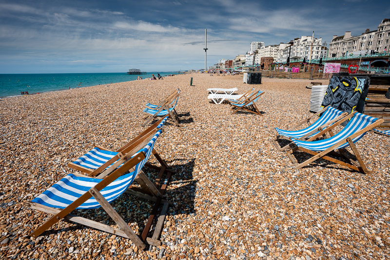 Striped deckchairs on Brighton beach