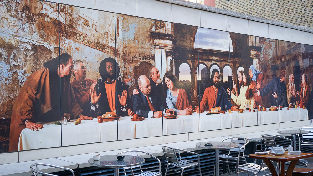 A modern mural inspired by Last Supper
