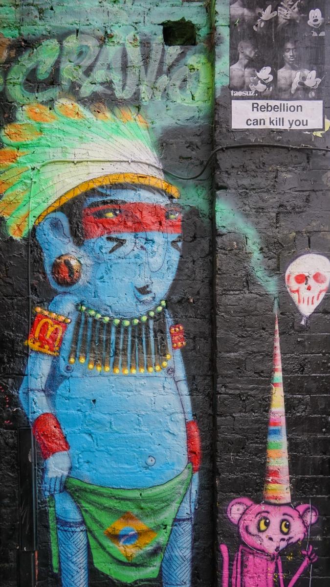 Classic Cranio mural of blue native tribesman