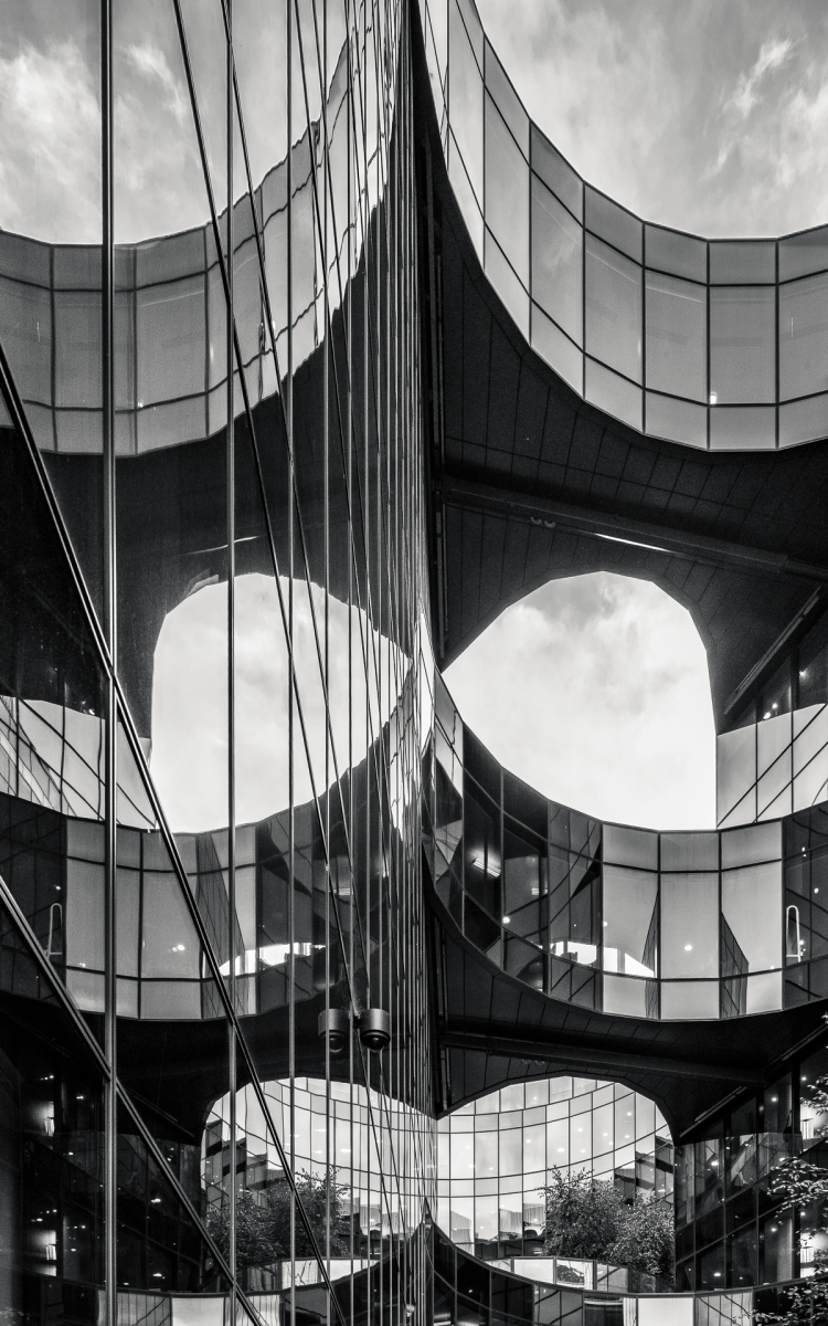 Symmetrical reflection in high rise building in black and white