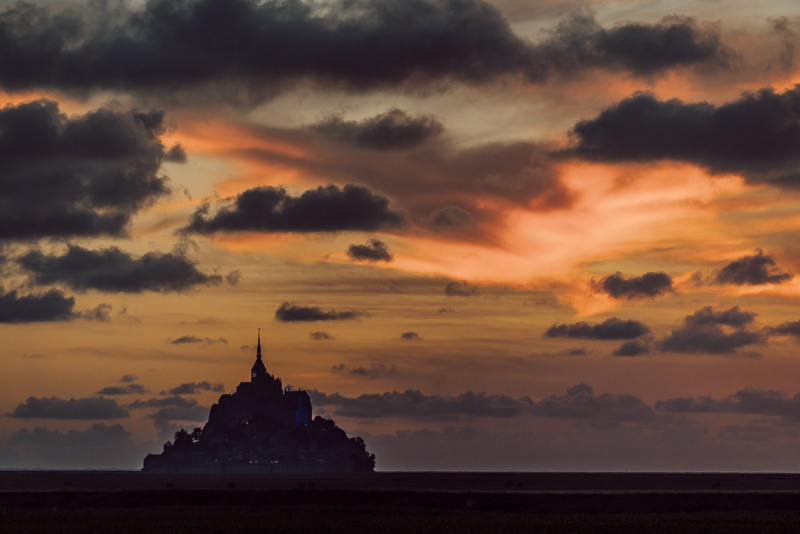 Sunset over Mont St Michel