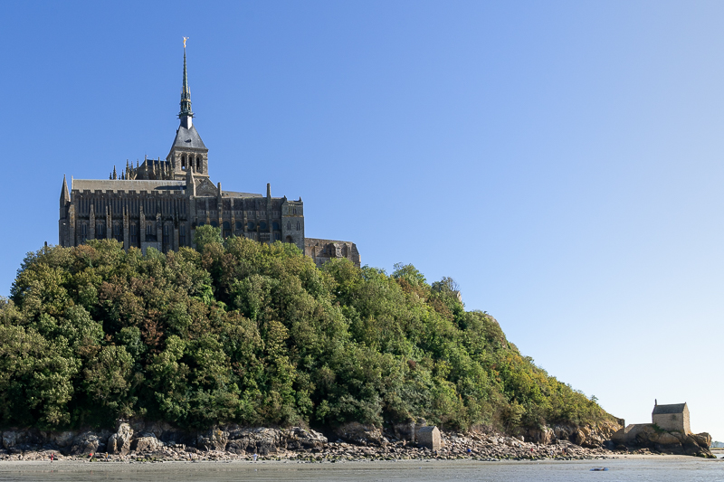 Mont St Michel with the small chapel to Aubert at the base