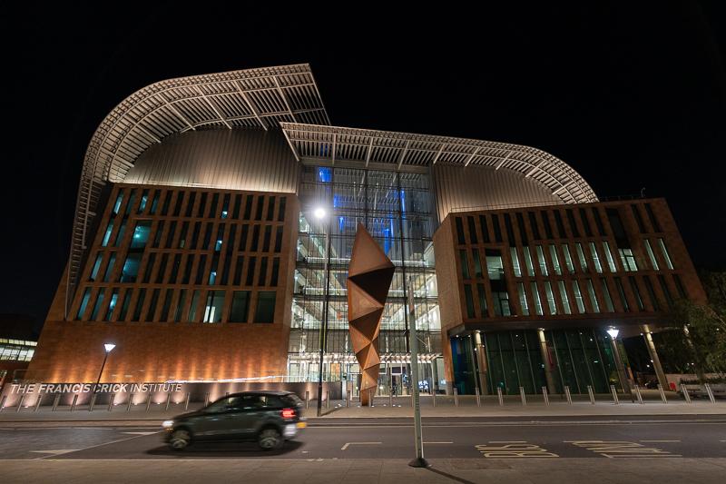 Night shot of Crick Institute