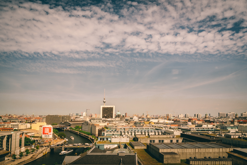 Berlin skyline with lots of white cloud and blue sky
